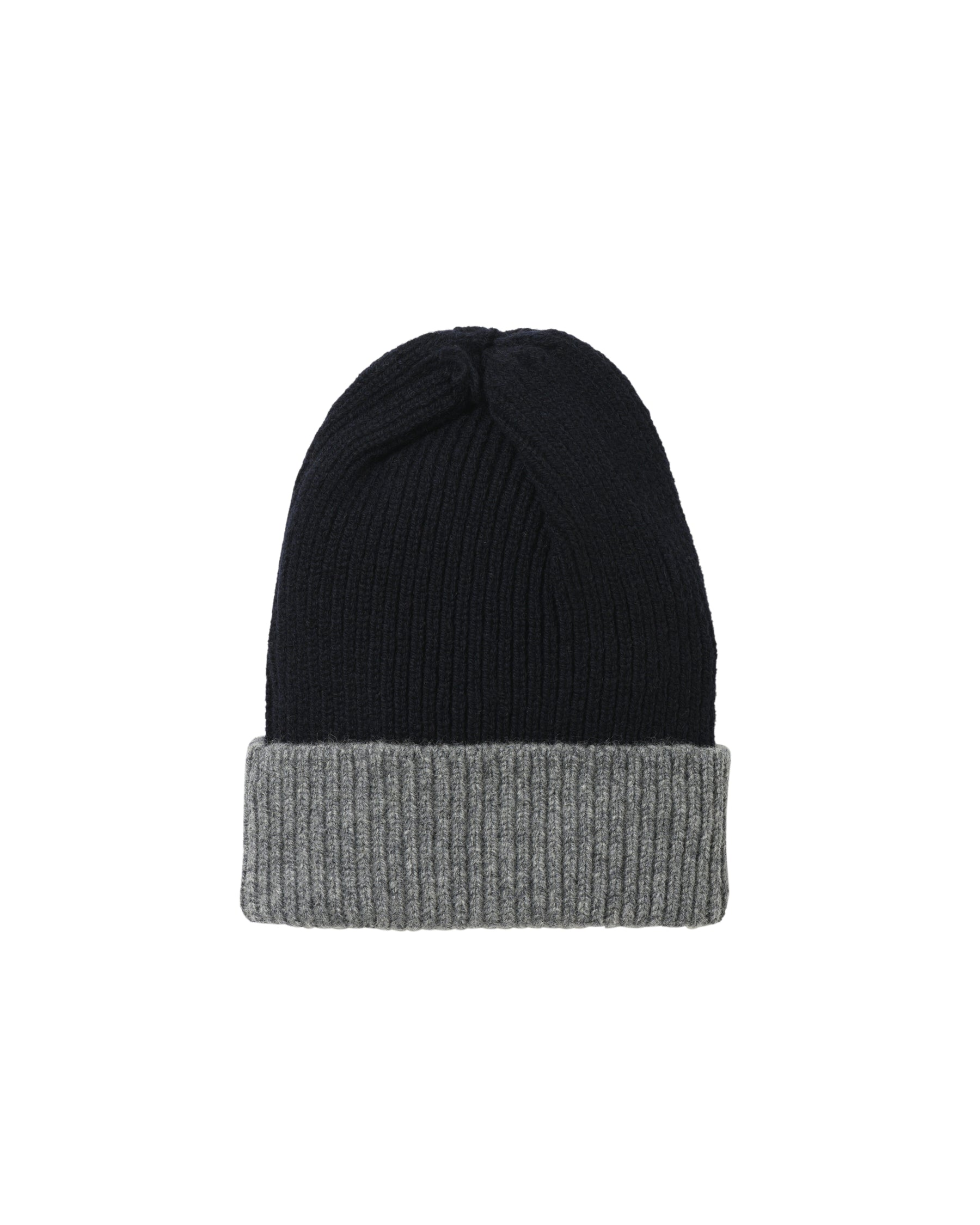 Contrast Rib Lambswool Hat • Grey