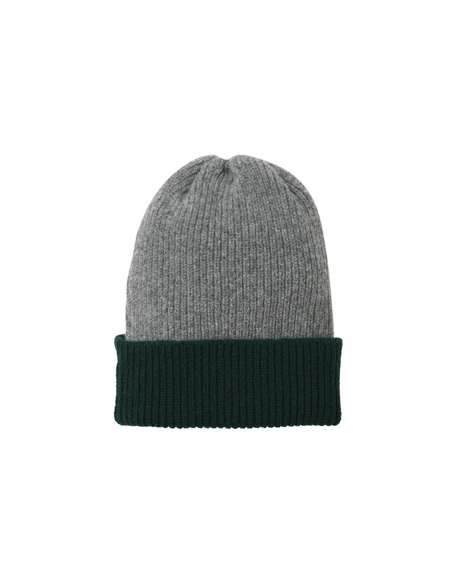 Contrast Rib Lambswool Hat • Green