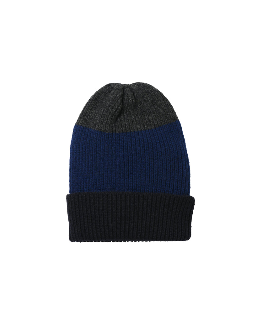 Tri-Stripe Lambswool Hat • Navy