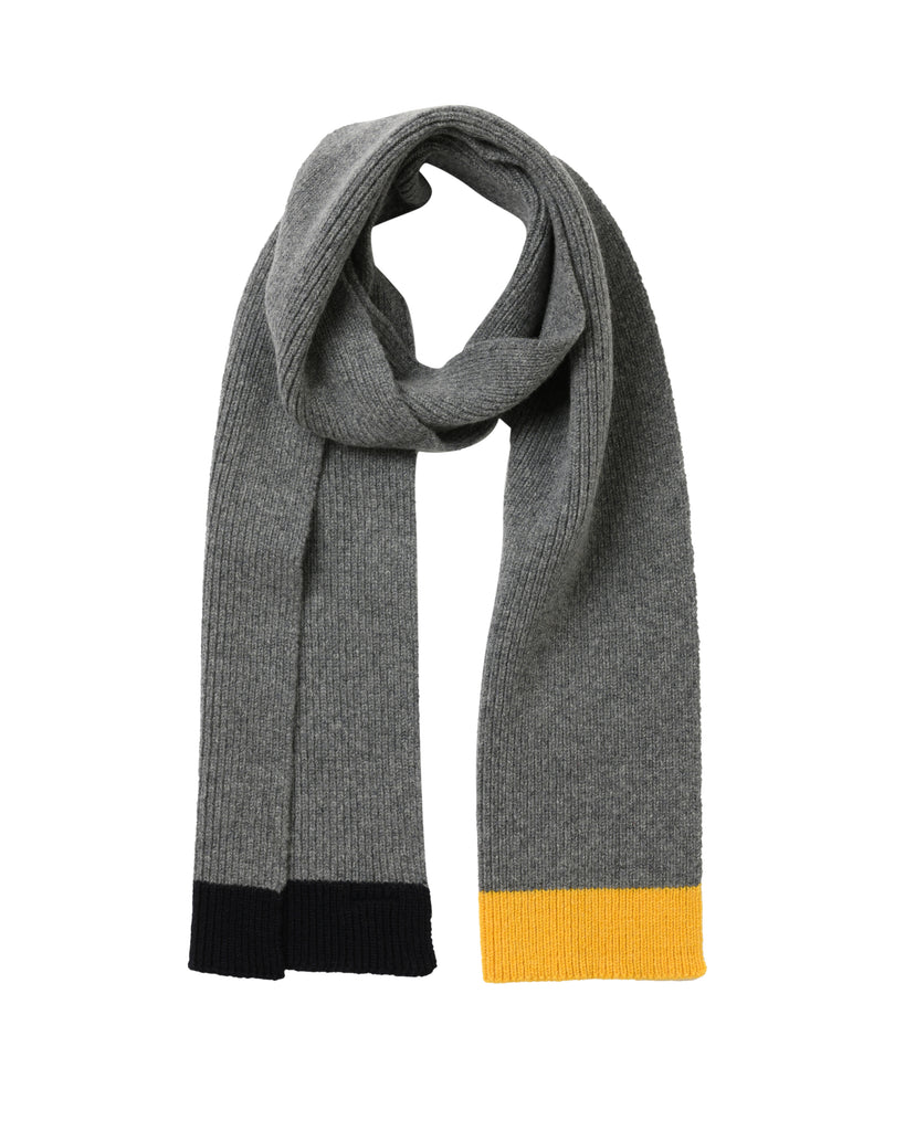 Contrast Tip Lambswool Scarf • Grey