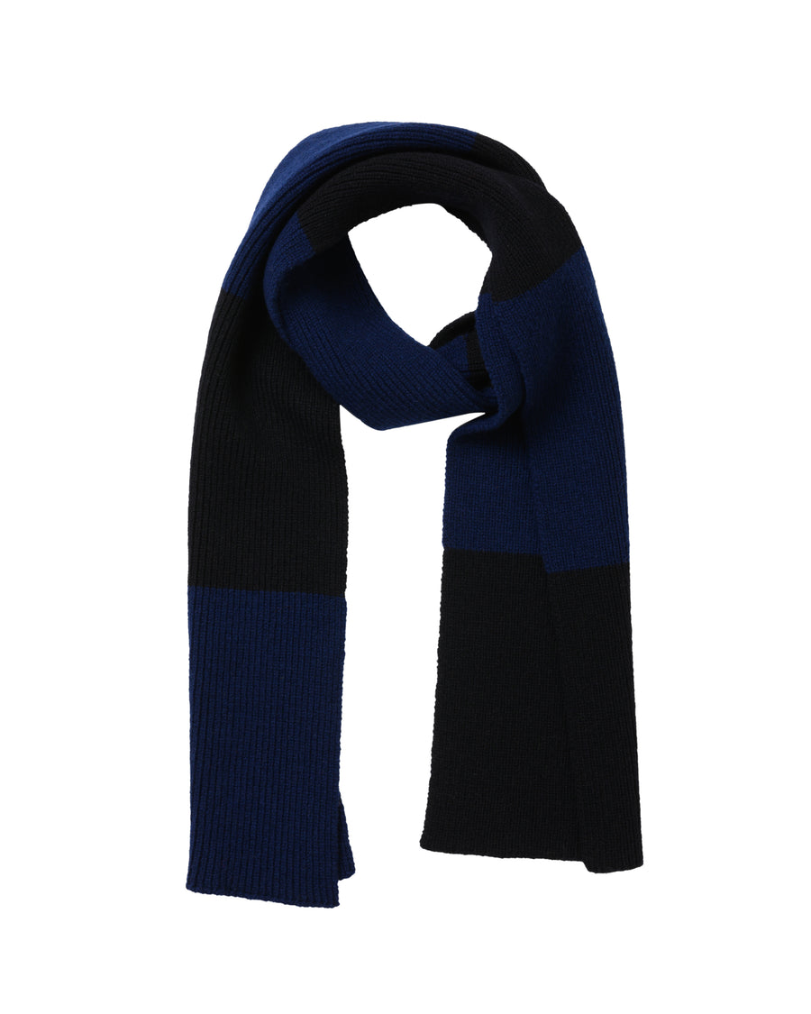 Striped Lambswool Scarf • Navy
