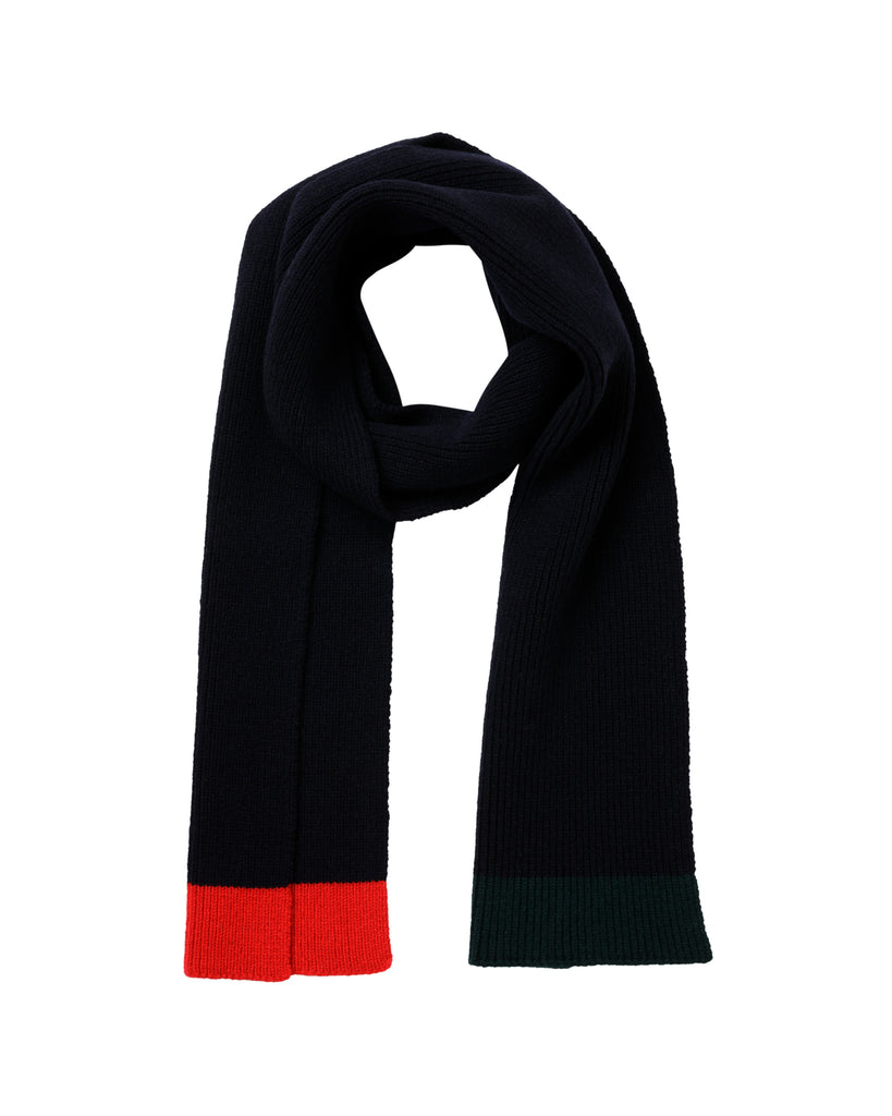 Contrast Tip Lambswool Scarf • Navy