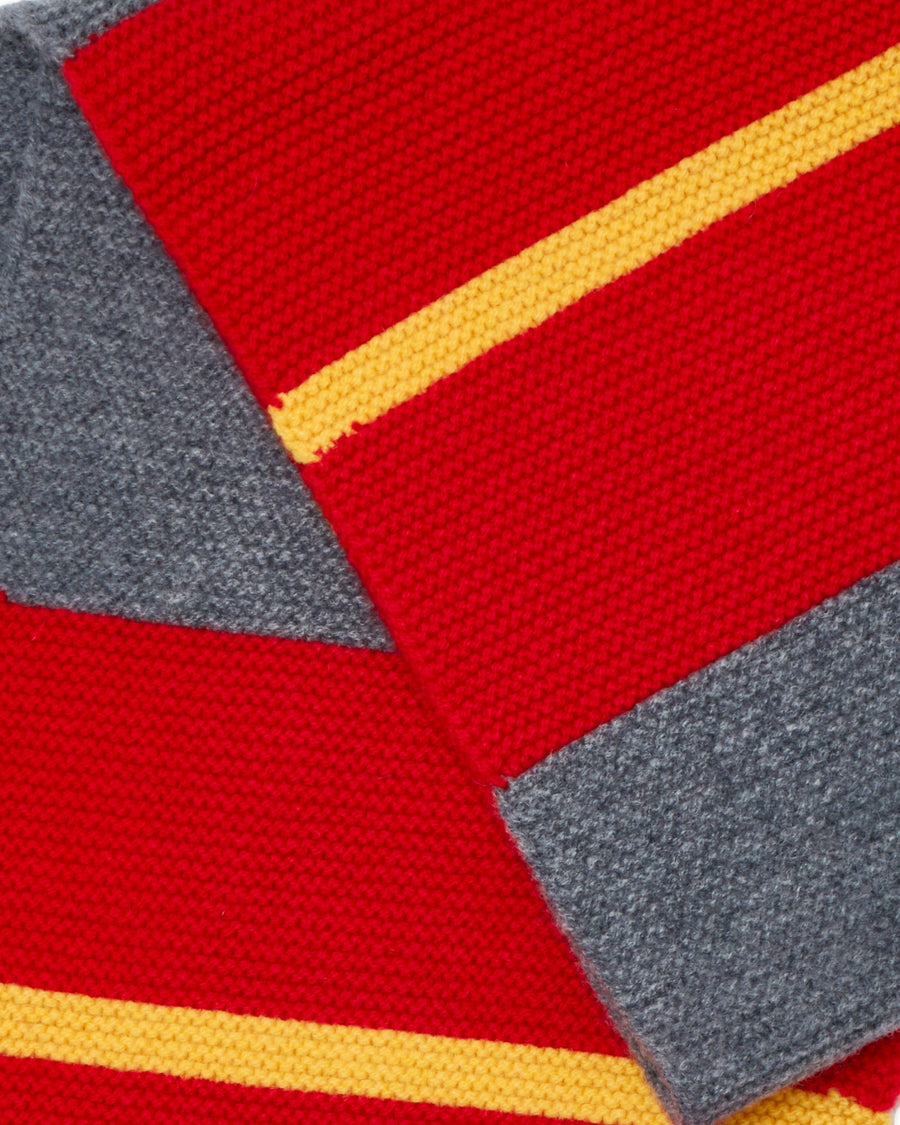 LINKS COLLEGE STRIPE SCARF • RED