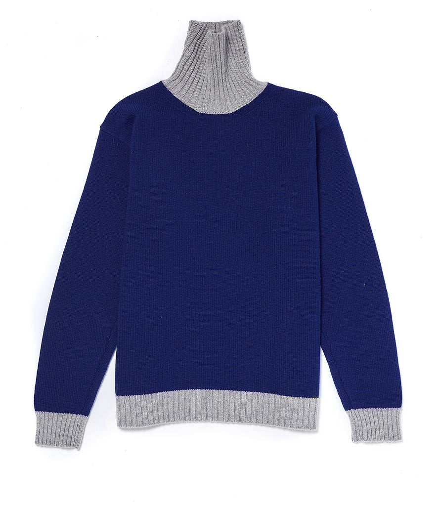 Contrast Lambswool Turtle Sweater