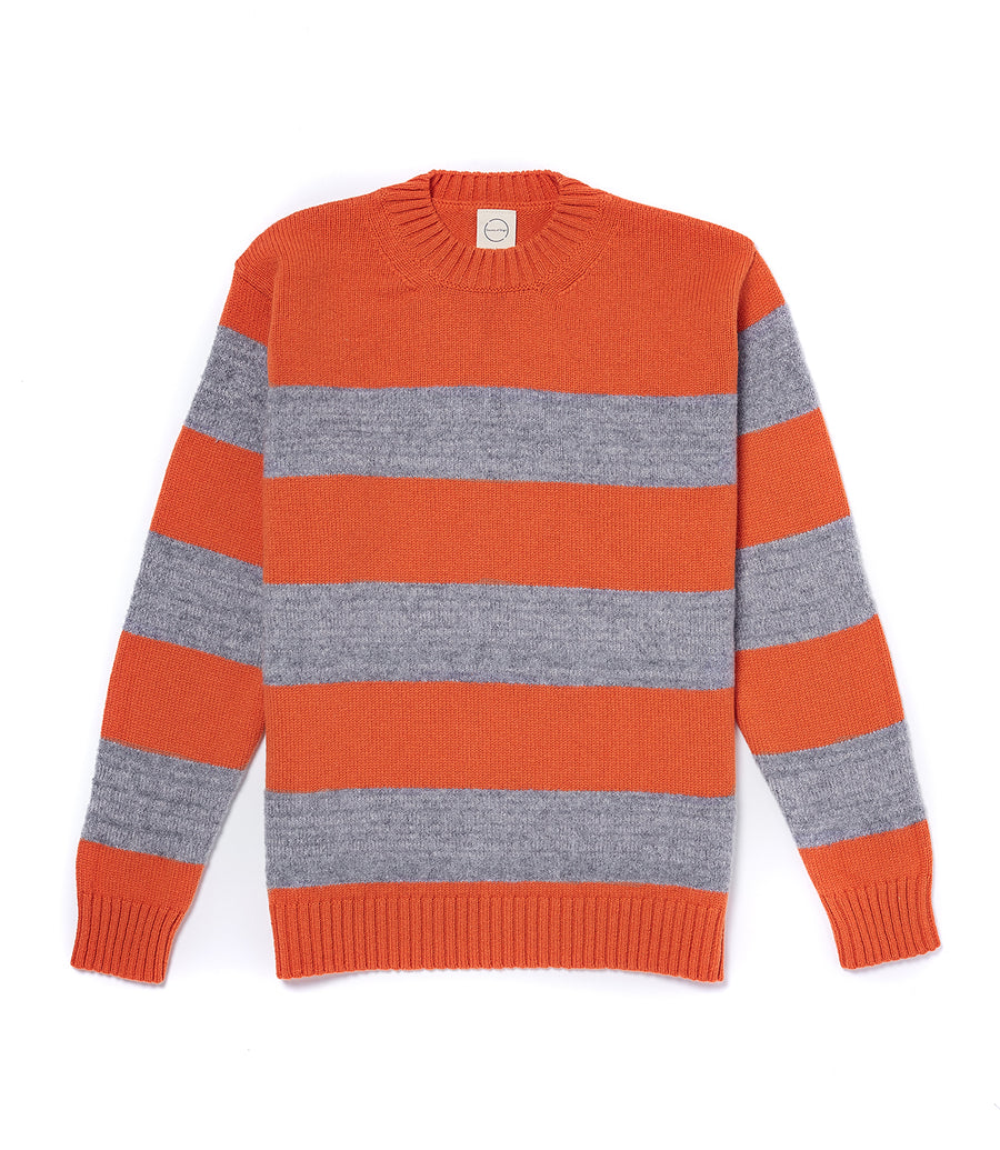 Orange/Grey Fleece Stripe Crew Sweater