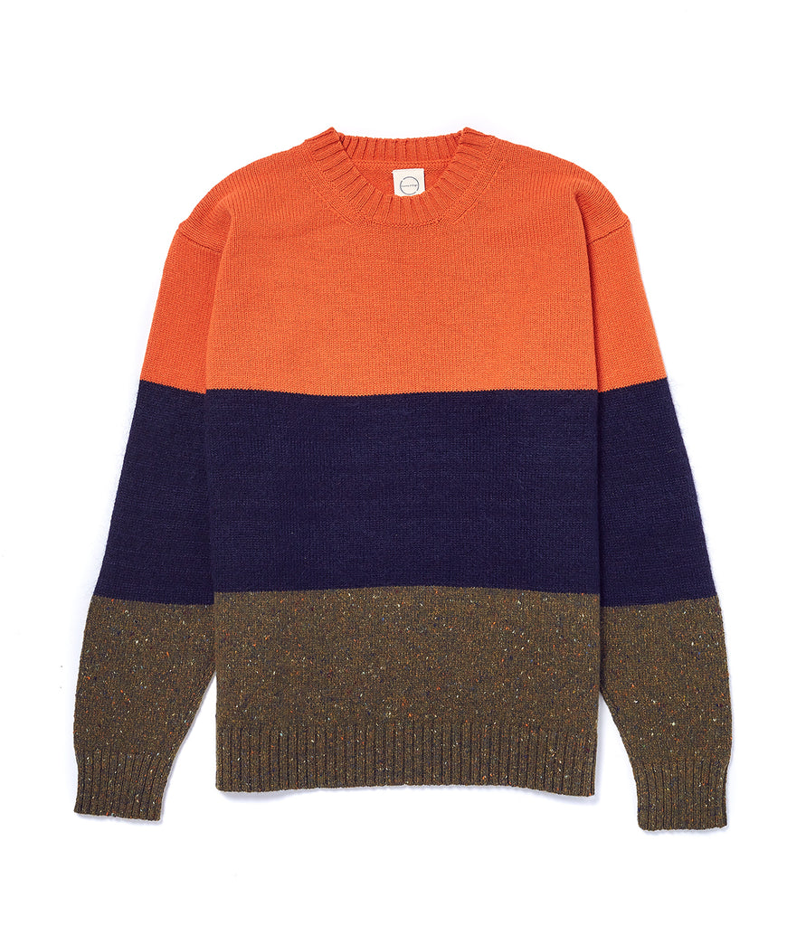Orange Tri-fabric Crew Neck