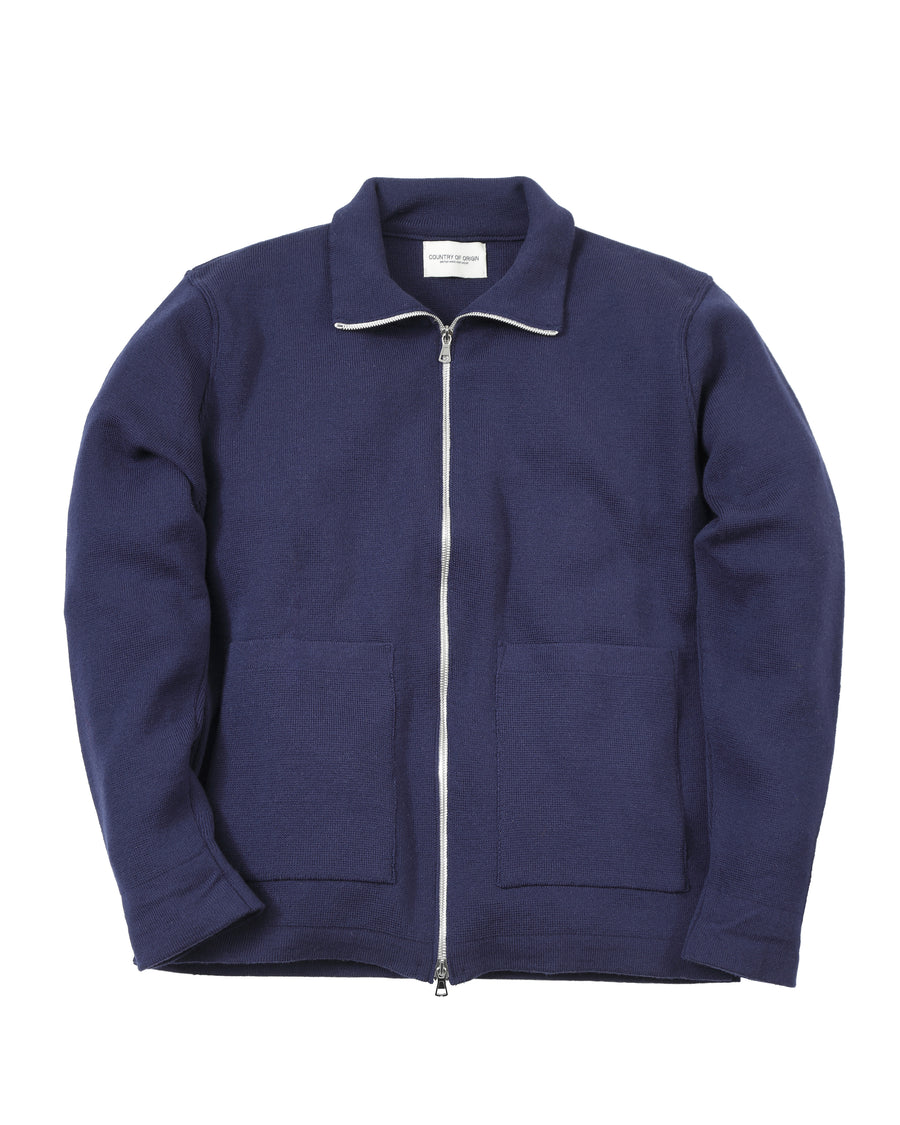 Zip-Thru Merino Jacket • Light Navy