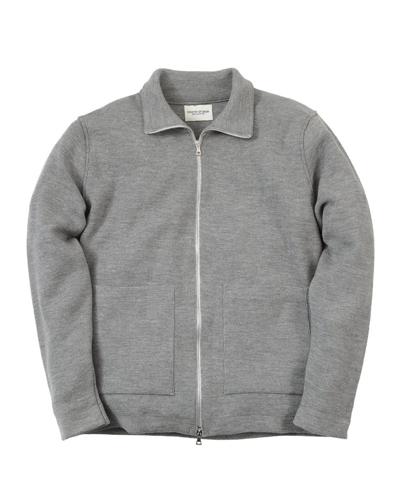 Zip-Thru Merino Jacket • Grey