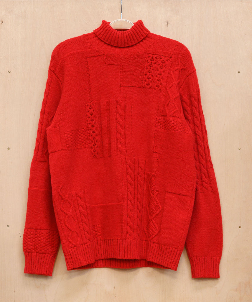 Red Cableknit Patchwork