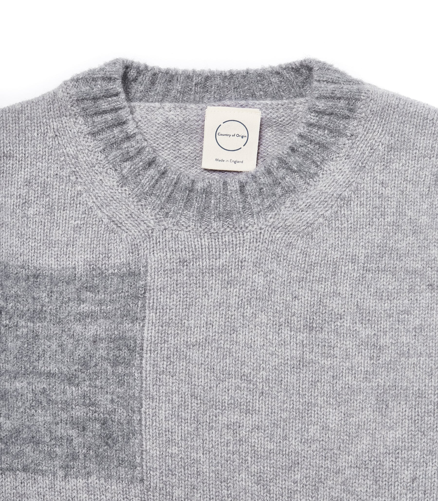 Grey Fleece Patch Boro' Boro'• Lambswool Sweater