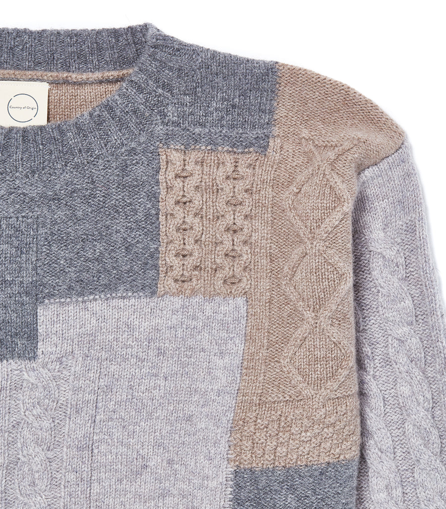Grey Cableknit Boro' • Lambswool Crew Sweater