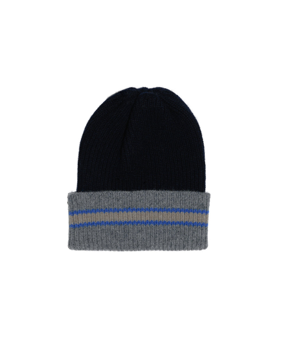 COLLEGE STRIPE LAMBSWOOL HAT • NAVY