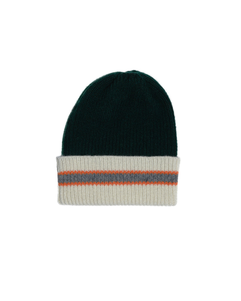 COLLEGE STRIPE LAMBSWOOL HAT • GREEN