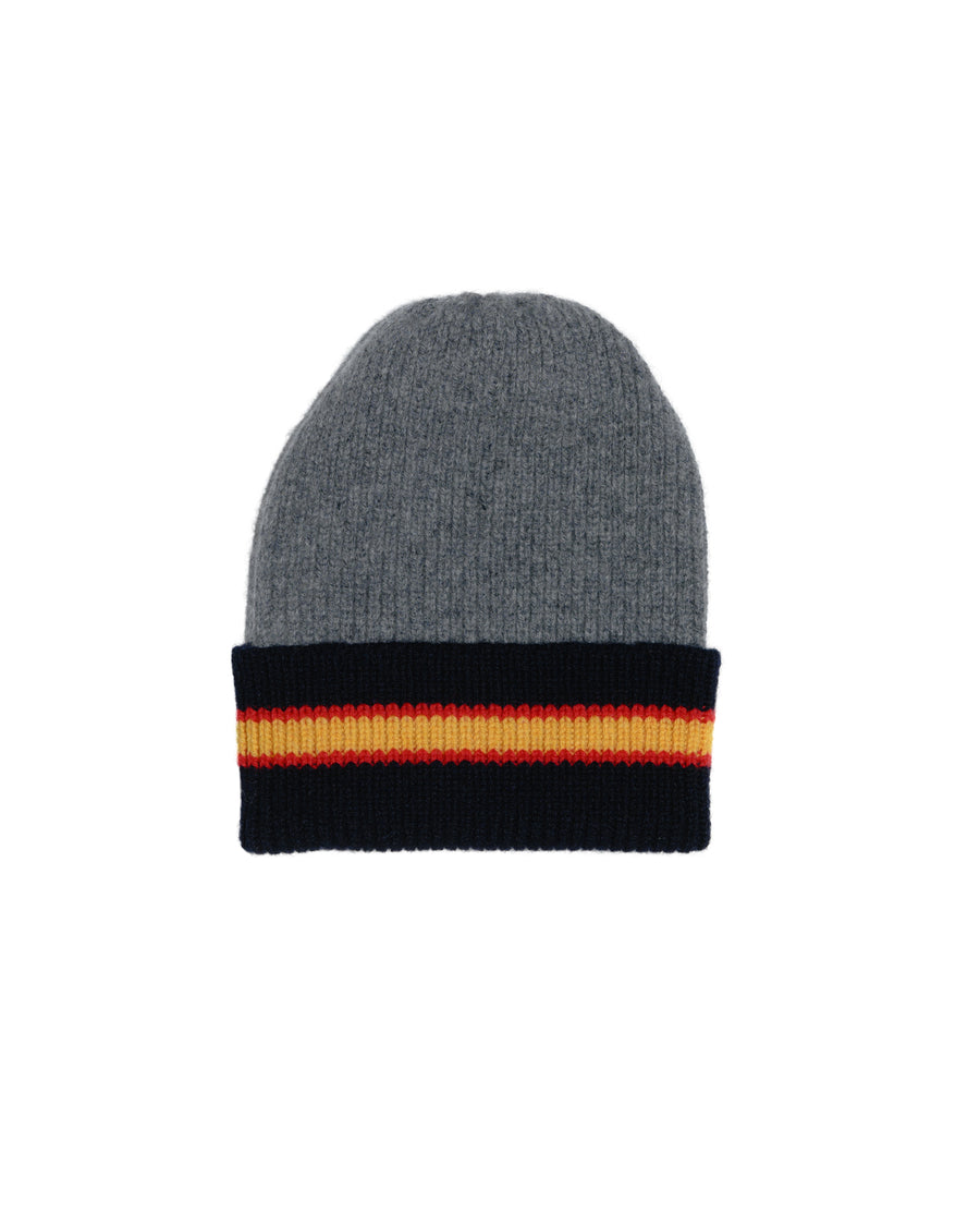 COLLEGE STRIPE LAMBSWOOL HAT • GREY