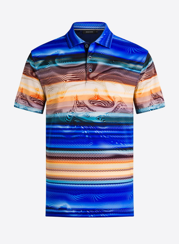 BUGATCHI SHORT SLEEVE POLO SHIRT PRINT