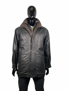REGENCY 3/4 LENGTH LEATHER COAT - Caswell's Fine Menswear