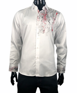 MARCELLO SHIRT HAND PAINTED WHITE - Caswell's Fine Menswear