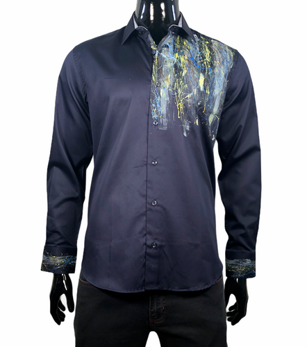 MARCELLO SHIRT HAND PAINTED NAVY - Caswell's Fine Menswear
