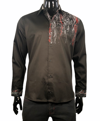 MARCELLO SHIRT HAND PAINTED BLACK - Caswell's Fine Menswear