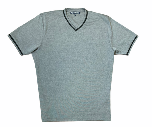 MARCELLO T-SHIRT V NECK CHARCOAL - Caswell's Fine Menswear