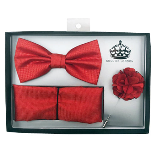 SOUL OF LONDON BOW TIE SET RED