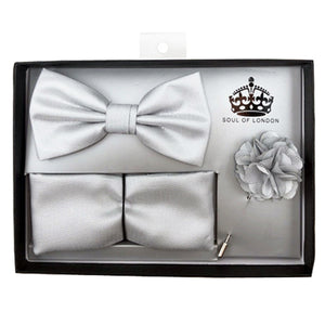 SOUL OF LONDON BOW TIE SET SILVER