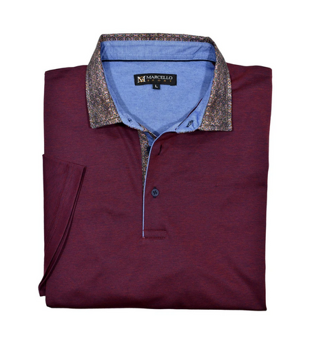 MARCELLO POLO SHIRT S SLEEVE WINE - Caswell's Fine Menswear