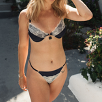 The Renee Plunge - Navy/Ivory