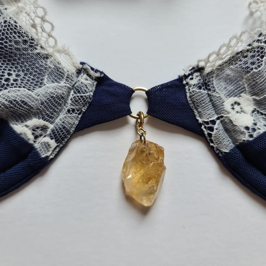 interchangeable citrine crystal or semi precious stone. adjust to the centre of bra or lingerie