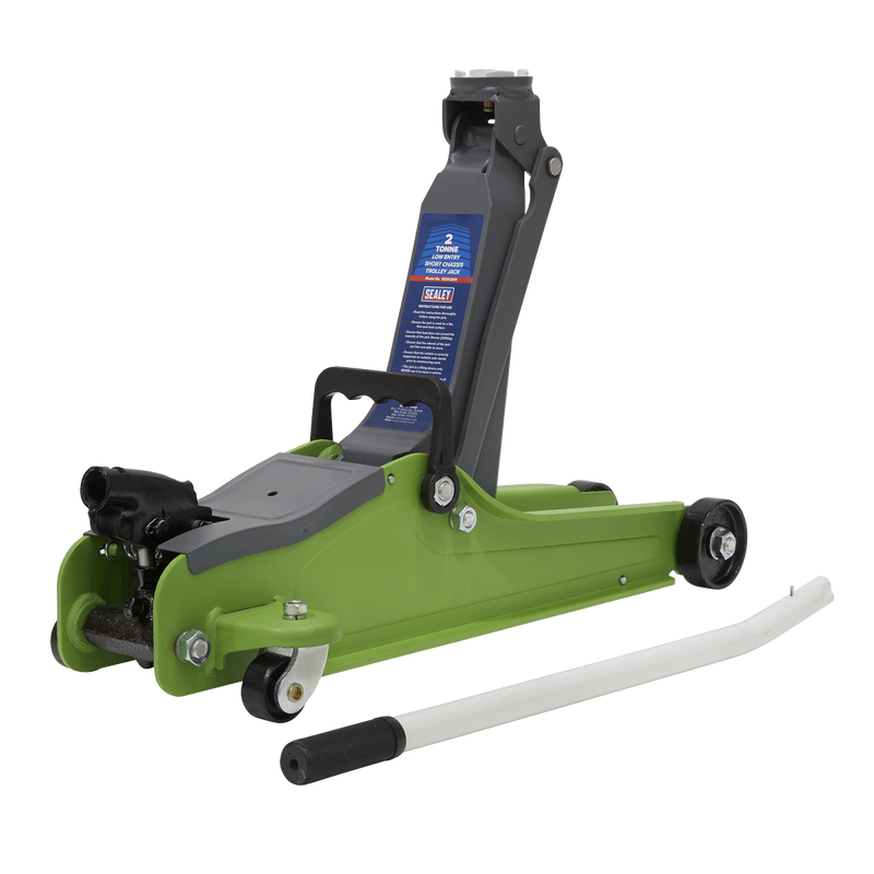 Trolley Jack 2tonne Low Entry Short Chassis - Hi-Vis Green