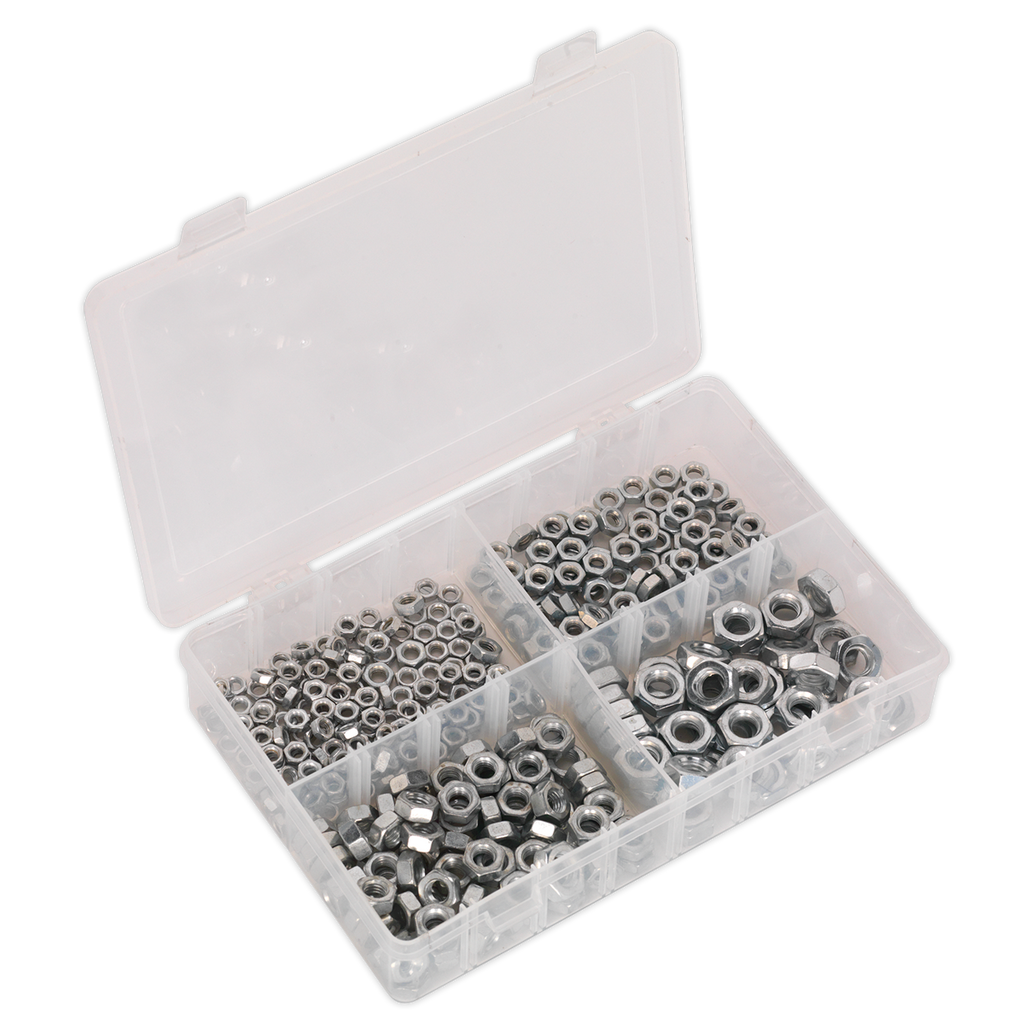 Steel Nut Assortment 370pc M5-M10 DIN 934 Metric