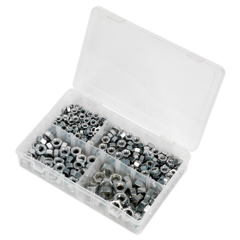 "Steel Nut Assortment 320pc 1/4""-1/2""UNF DIN 934"