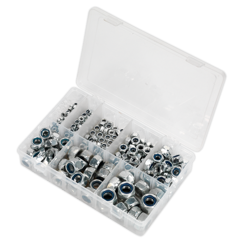 Nylon Lock Nut Assortment 255pc M4-M16 DIN 985