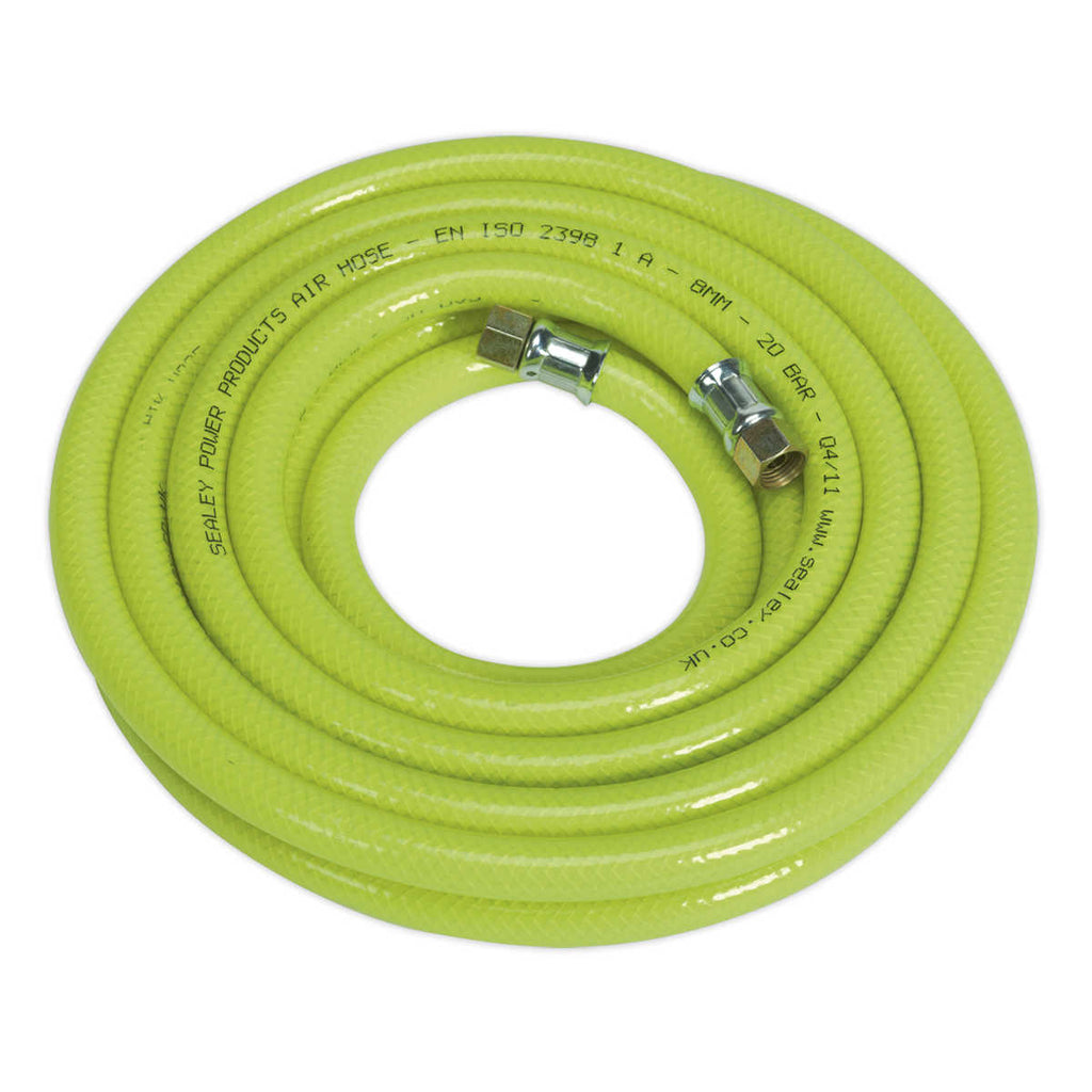 "Air Hose High Visibility 5mtr x Ø8mm with 1/4""BSP Unions"