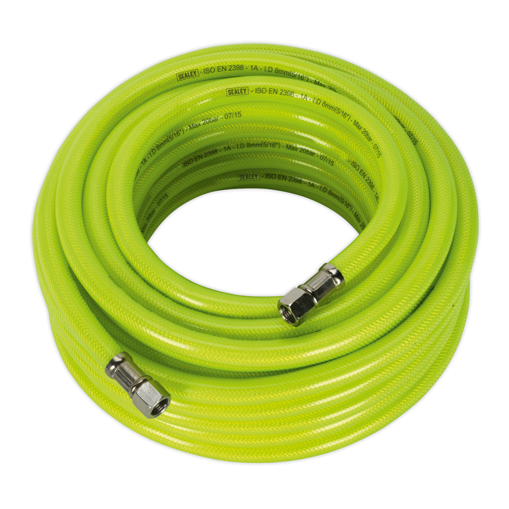 "Air Hose High Visibility 15m x Ø8mm with 1/4""BSP Unions"