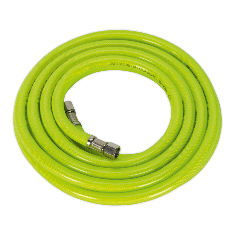 "Air Hose High Visibility 5m x Ø8mm with 1/4""BSP Unions"