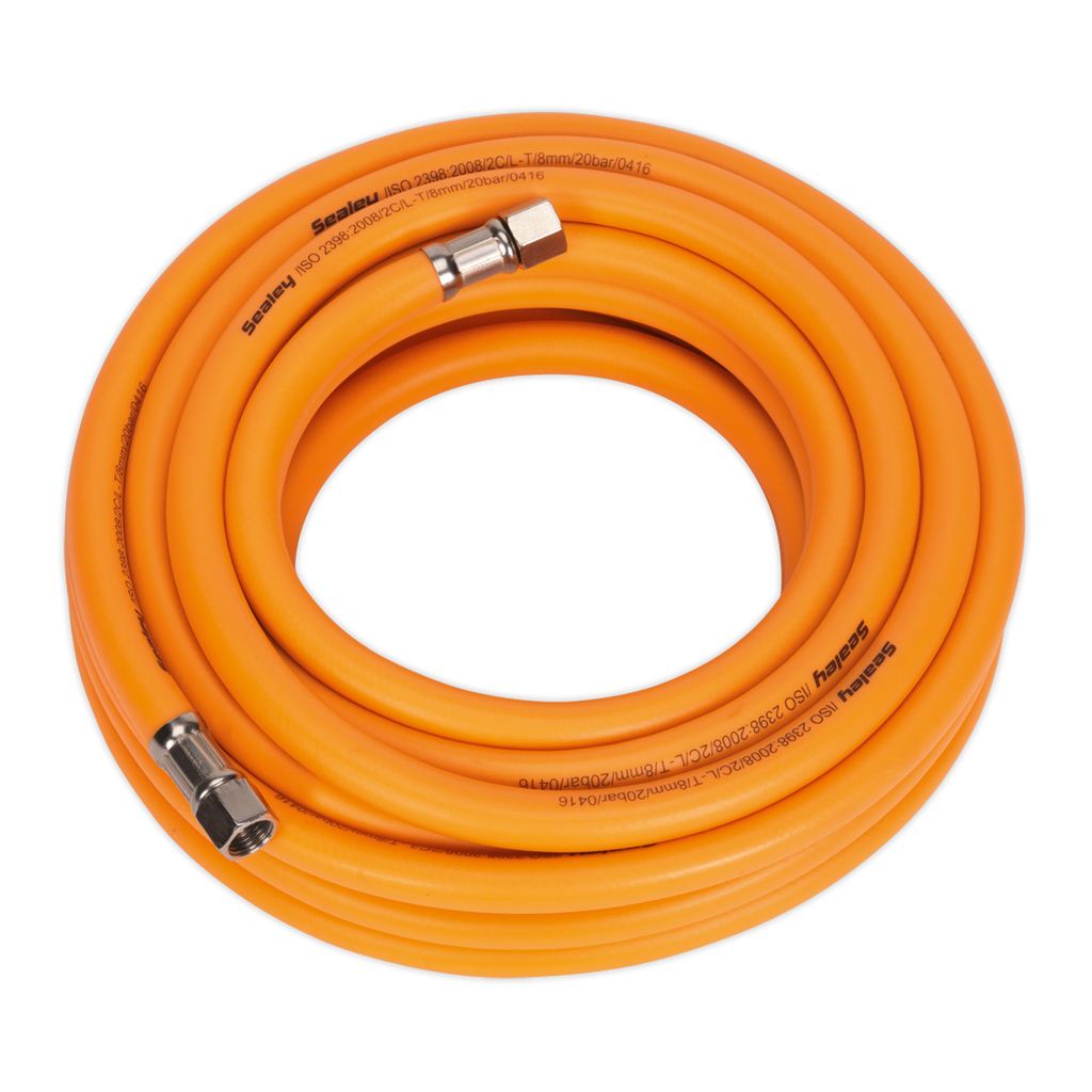 "Air Hose 10m x Ø8mm Hybrid High Visibility with 1/4""BSP Unions"