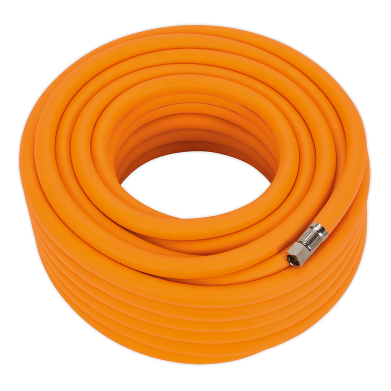 "Air Hose 20m x Ø10mm Hybrid High Visibility with 1/4""BSP Unions"