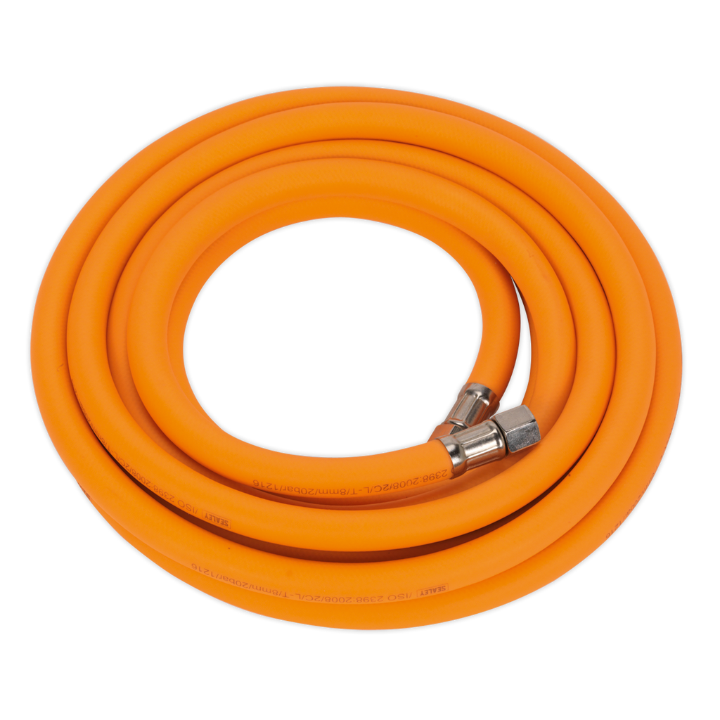 "Air Hose 5m x Ø8mm Hybrid High Visibility with 1/4""BSP Unions"