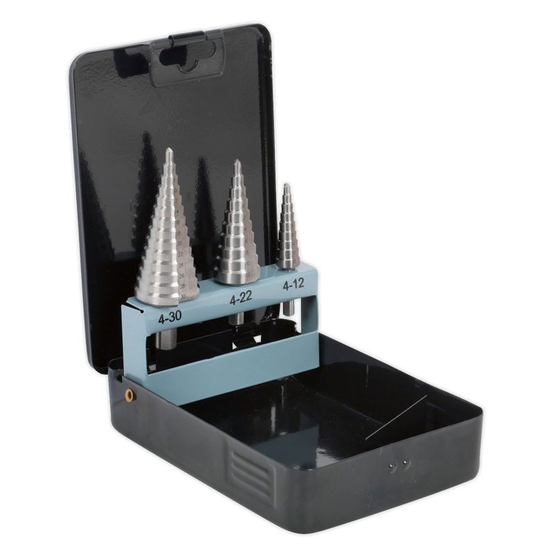 HSS 4341 Step Drill Bit Set 3pc Double Flute