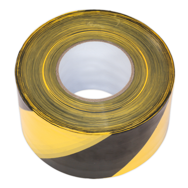 Hazard Warning Barrier Tape 80mm x 100m Black/Yellow Non-Adhesive