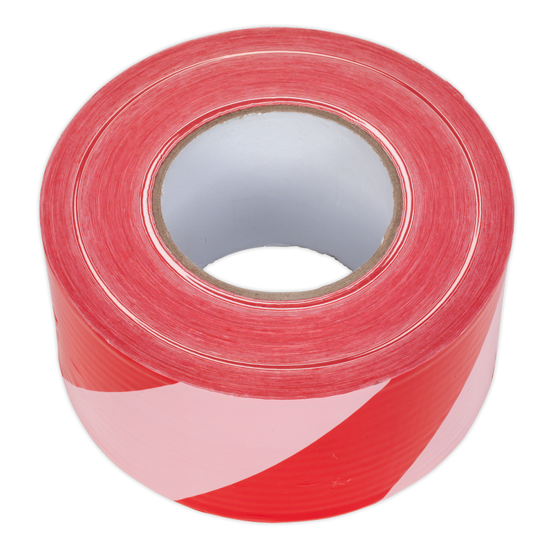 Hazard Warning Barrier Tape 80mm x 100m Red/White Non-Adhesive