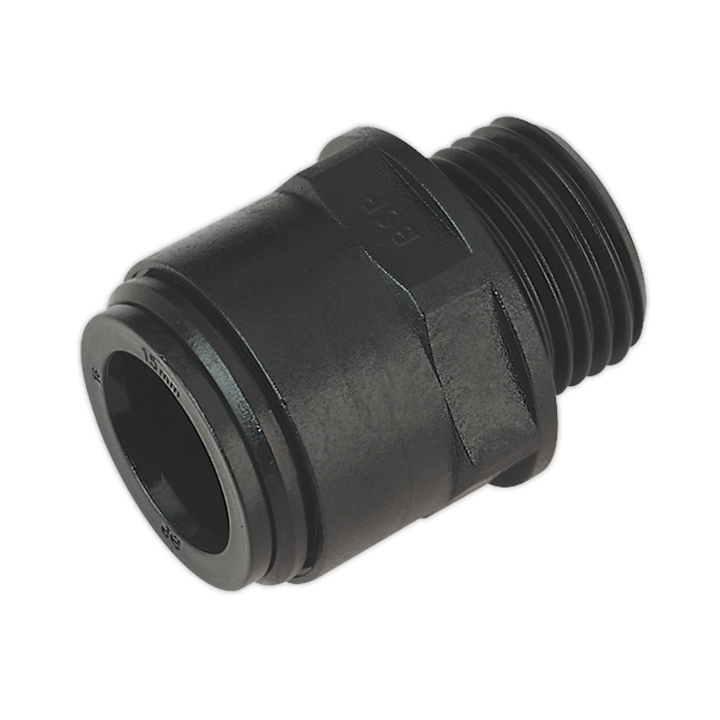 "Straight Adaptor 15mm 1/2""BSP Pack of 2 (John Guest Speedfit® - PM011514E)"