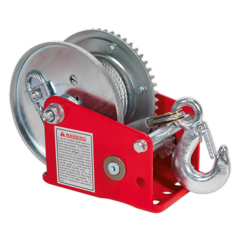 Geared Hand Winch with Brake & Cable 540kg Capacity