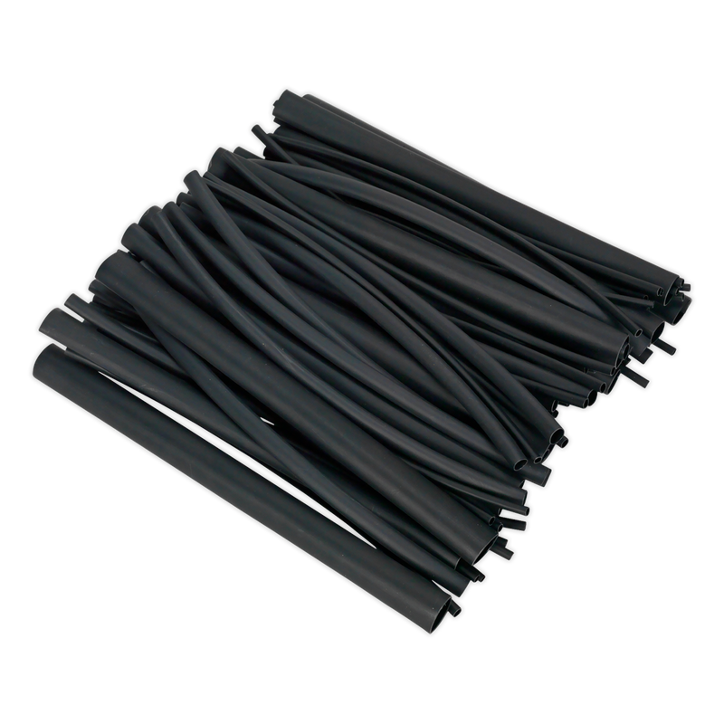 Heat Shrink Tubing Assortment 72pc Black Adhesive Lined 200mm