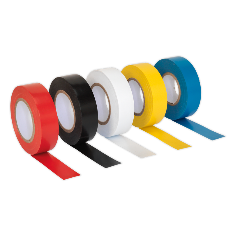 PVC Insulating Tape 19mm x 20m Mixed Colours Pack of 10