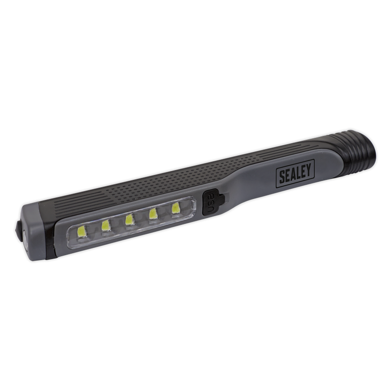 Rechargeable USB Penlight 5 SMD + 1 LED - Grey