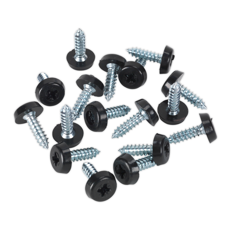 Numberplate Screw Plastic Enclosed Head 4.8 x 18mm Black Pack of 50