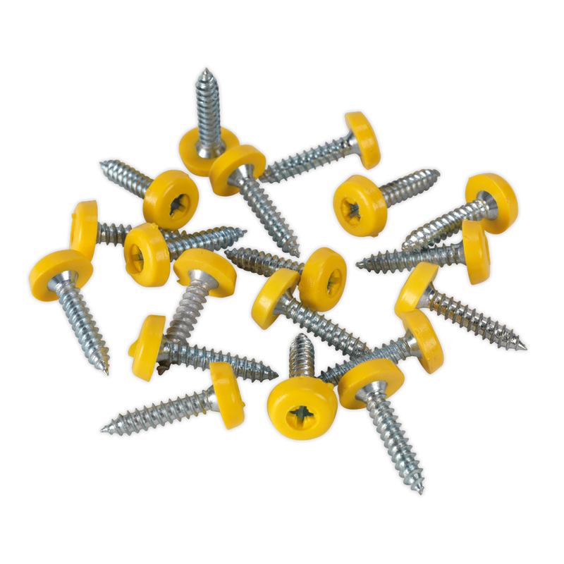 Numberplate Screw Plastic Enclosed Head 4.8 x 24mm Yellow Pack of 50