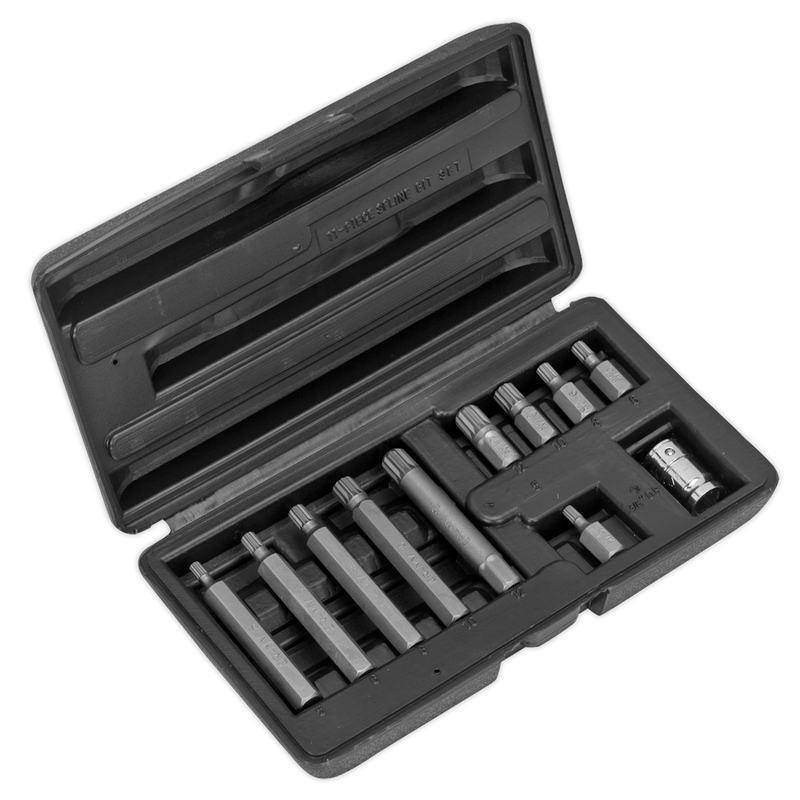 "Spline Bit & Holder Set 11pc - 3/8""Sq Drive"